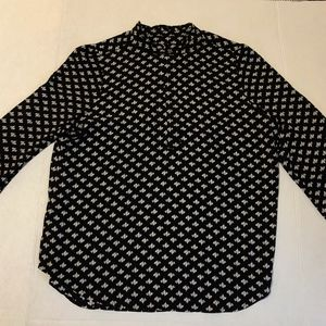 NWOT LOFT Black Blouse with White Leaves